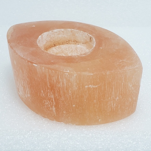 Other - Peach Selenite Evil Eye Candle Succulent Holder